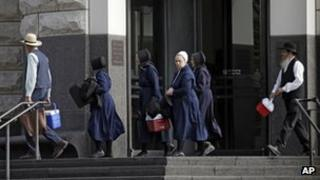 A group of Amish leave the US courthouse in Cleveland 5 September 2012