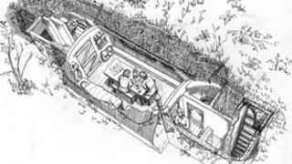 Illustration of an underground base by Bronwen Thomas