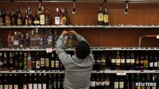 Spirits cleared from shelves in Prague. 14 Sept 2012