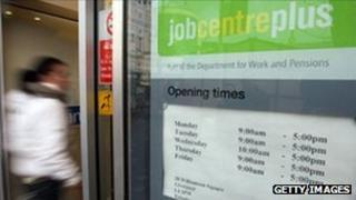 Woman entering a job centre