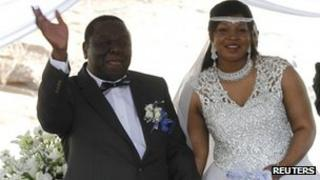 Morgan Tsvangirai and Elizabeth Macheka smile after getting married in Harare. Photo: 15 September 2012