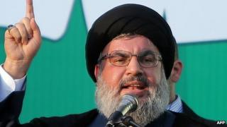 Hezbollah chief Hassan Nasrallah addresses thousands of supporters who took to the streets of southern Beirut to denounce a film mocking Islam on September 17, 2012.