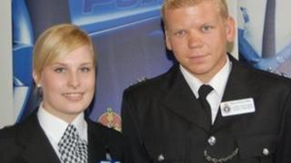 Student Officers Sarah Chandler from Guernsey and Harry Matthews from Jersey