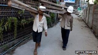 Burma construction workers in Rangoon, 6 Feb 12