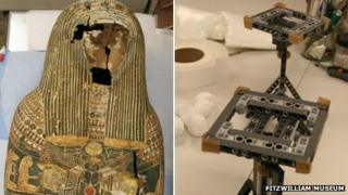 Egyptian mummy case and Lego support