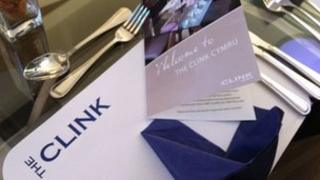 Place mats at The Clink Cymru restaurant