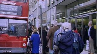 Older people getting on a bus