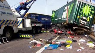 M20 lorry crash