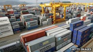 Containers at a port in South Korea