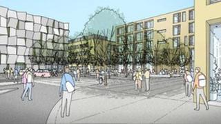 Artist impression of future development of University of Lincoln's Brayford Pool campus