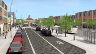 An artist's impression of what the high street will look like once the first phase of works is complete