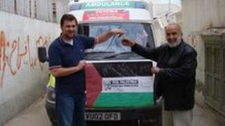 Sakir Yildirim delivers an ambulance he drove from Bristol to Gaza in February 2009