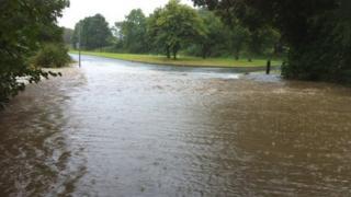 Flooding at Pontblyddyn, Flintshire