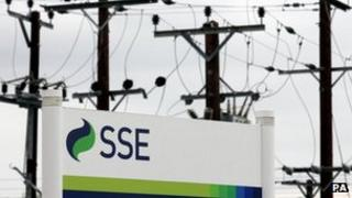 Power lines with SSE sign