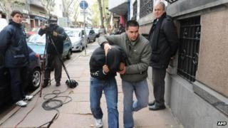 Uruguayan officer arrives in court in Montevideo
