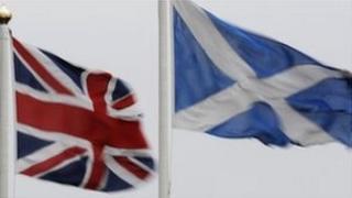 Union flag and Scottish saltire