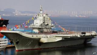 China's first aircraft carrier, the Liaoning, 24 September