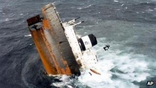 The Erika broke in two in violent seas off the Brittany coast in 1999