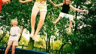 Trampolining children