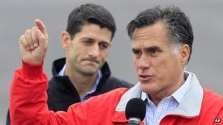 Republican presidential nominee Mitt Romney and running mate Paul Ryan in Dayton, Ohio 25 September 2012