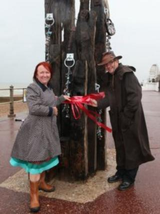 Brigitte Orasinski, Artistic Director Strange Cargo and Cllr Peter Chowney at the unveiling of the sculpture
