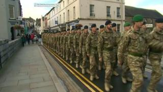 223 Signal Squadron marching through Haverfordwest