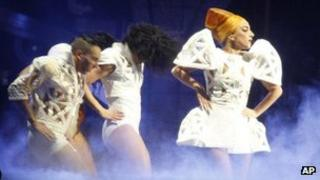 Lady Gaga performing on her Born This Way Ball world tour