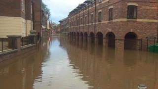The River Ouse in York, where waters have risen more than four metres since Sunday