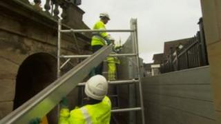 Flood barriers are taken down in Shrewsbury