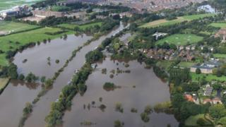 Aerial showing floodwater from the River Ouse in York