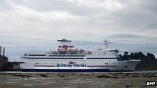 A Brittany Ferry moored at Saint-Malo's harbour