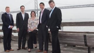 Alastair Ross, Assembly Private Secretary; James Romeo, Quantus; Enterprise Minister, Arlene Foster; Matt Bieber and Alastair Hamilton, Chief Executive Invest NI.