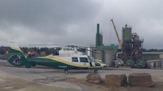 Great North Air Ambulance at the quarry