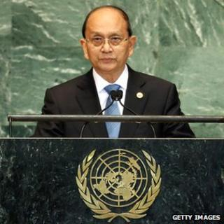 President Thein Sein addresses the United Nations' General Assembly