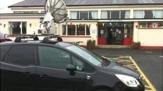 A satellite dish is required to get a signal at St Mary's High School near Belleek