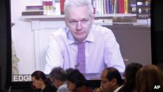 Julian Assange on videolink to the UN