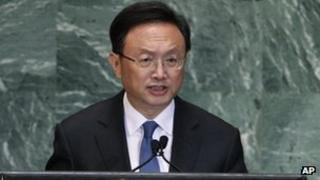 Chinese Foreign Minister Yang Jiechi addresses United Nations General Assembly on 27 September 2012