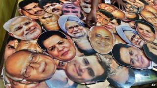Masks of Indian politicians