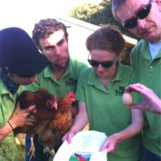 Actors with chickens and egg