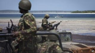 Kenyan army soldiers in southern Somalia - Archive shot, December 2011