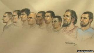 Court sketch of defandants