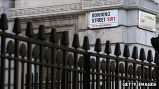 Street signs, Downing Street and Whitehall