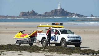 RNLI lifeguards on St Ouen's Bay in Jersey