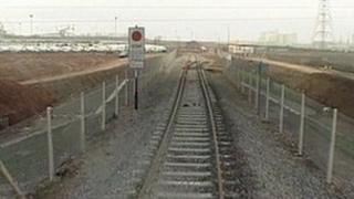 Railway line heading into Portbury Docks