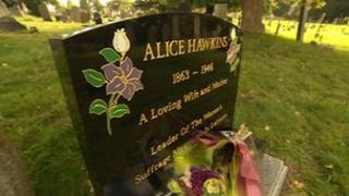 Headstone of Alice Hawkins