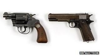 Bonnie Parker .38 Colt Detective Special revolver (L) and Clyde Barrow 1911 Army Colt .45 pistol