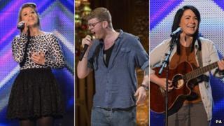 X Factor finalists Ella Henderson, James Arthur and Lucy Spraggan