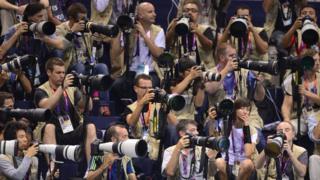 Press photographers at the London Olympics