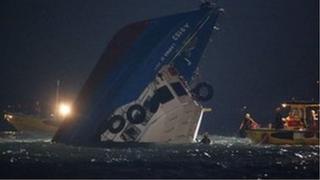 Sunken ferry boat