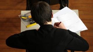 Schoolboy doing an exam
